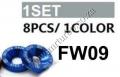 FW09  BLUE 8 PCS M6 X 20 ENGINE BUMPERS FENDER WASHERS KIT