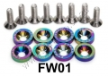 FW01  8PCS NEOCHROME ALUMINUM FENDER BUMPER WASHER BOLT ENGINE B