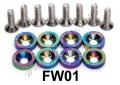FW01  8PCS NEOCHROME ALUMINUM FENDER BUMPER WASHER BOLT ENGINE B
