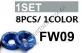 FW09  BLUE 8 PCS M6 X 20 ENGINE BUMPERS FENDER WASHERS KIT